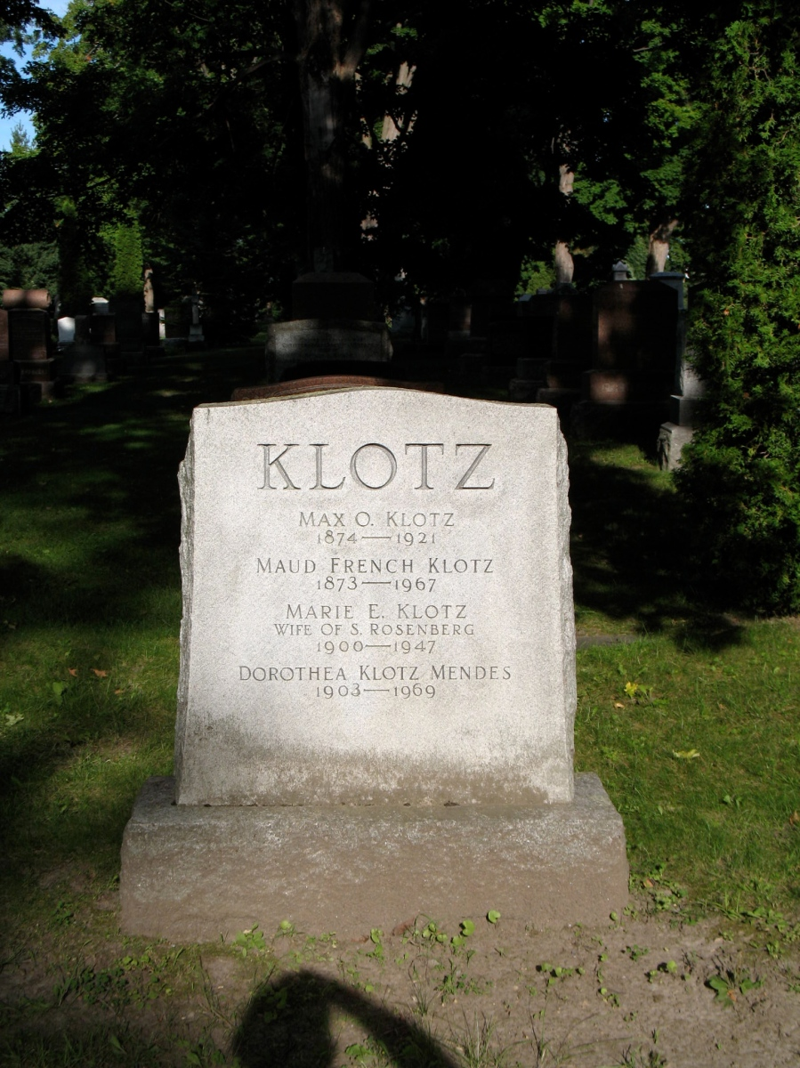 Grave of Max Klotz and family, Beechwood Cemetery, Ottawa