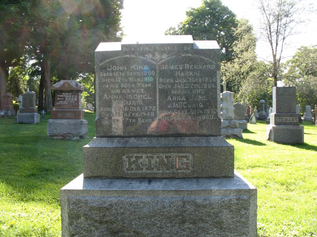McCuaig-Harkin grave marker, Beechwood Cemetery, Ottawa